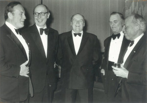 60 year anniversary of the Norway-America Association. From left: Alf R. Bjercke, John A. Boyle (Counselor of the American Embassy), King Olav V, Arthur Grant Campbell (Candian Ambassador to Norway), and Gunnar Randers.